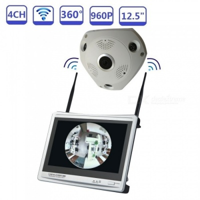 """STRONGSHINE 4CH 960P 12.5"""" Wi-Fi NVR Audio CCTV Home Security System with IPC 1.3MP Panoramic Camera - UK Plug"""
