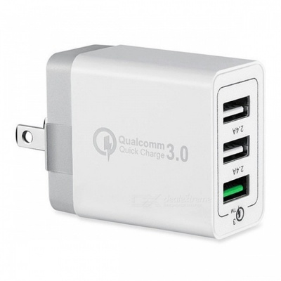 Mini Smile Universal 42W QC3.0 Quick Charge 3-Port Power Adapter Wall Fast Charger - White (US Plug)