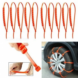 Car Tire Anti-slip Rubber Strip Nylon 66 Zip Grip Tie Emergency Traction Aid Wear-Resistant Rubber Chains (10 PCS)
