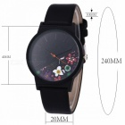 Retro Vintage PU Leather Band Quartz Wrist Watch Luxury Floral Pattern Casual Watch for Women Ladies Girls Black 2
