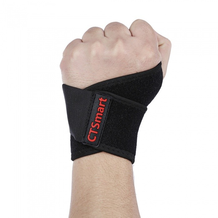 CTSmart CT-08 Outdoor Weightlifting Anti-skid Badminton Wristband Protector - BlackWrist Supports<br>ColorBlackModelCT-08Quantity1 pieceMaterialOK cloth + SBR fabricGenderMensSuitable forAdultsPacking List1 x Wrist protector<br>