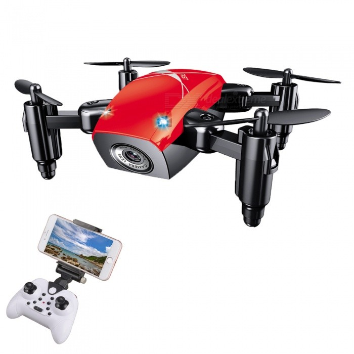 S9HW 2.4G 4 Channel Wi-Fi FPV Foldable Mini RC Helicopter Quadcopter Drone with 0.3MP HD Camera - RedR/C Helicopters<br>ColorRedModelS9HWMaterialABSQuantity1 pieceShade Of ColorRedGyroscopeYesChannels Quanlity4 channelFunctionUp,Down,Left,Right,Forward,Backward,Stop,Hovering,Sideward flightRemote control frequency2.4GHzRemote TypeRadio ControlRemote Control Range30 mIndoor/OutdoorOutdoorSuitable Age 12-15 years,Grown upsCameraYesCamera Pixel0.3MPLamp YesBattery Capacity200 mAhBattery TypeLi-polymer batteryCharging Time40 minutesWorking Time5~7 minutesModelMode 2 (Left Throttle Hand)Remote Control TypeWirelessRemote Controller Battery TypeAAARemote Controller Battery Number3 (not included)Packing List1 x RC Quadcopter (built-in camera)1 x 2.4G Transmitter1 x USB Charging Cable (60cm)4 x Spare Propellers1 x Phone Holder2 x Protection rings1 x Chinese / English user manual<br>