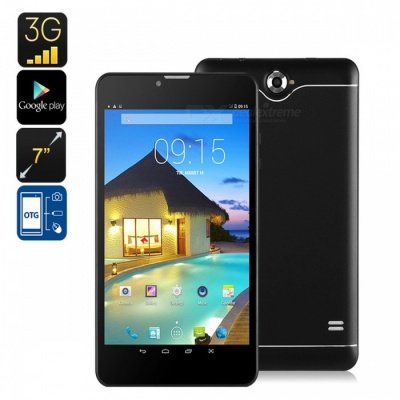 """7"""" 3G Android Tablet PC with Dual-IMEI, 3G Support, Bluetooth, Google Play, Quad-Core, 2500mAh Battery - Black"""