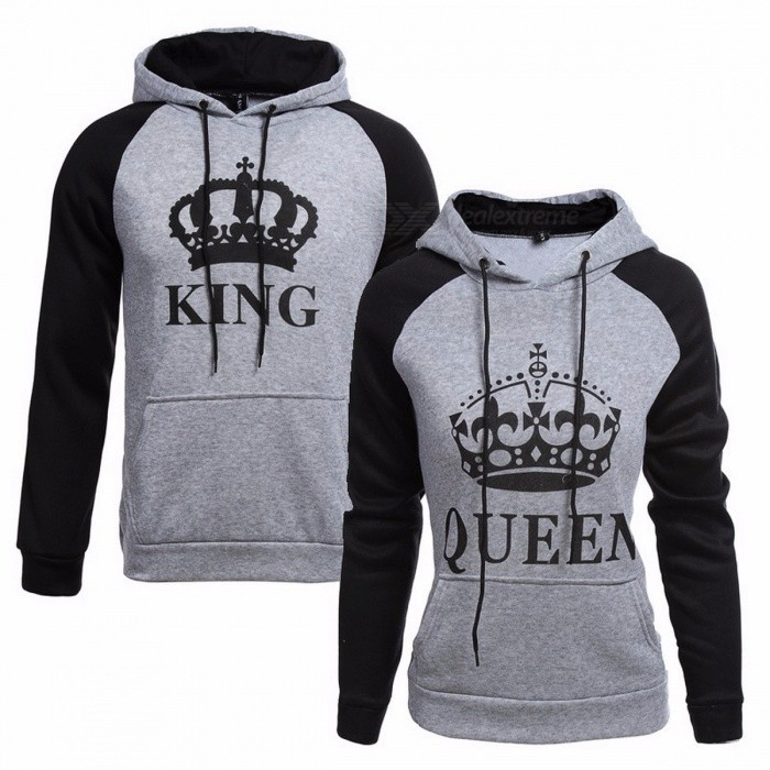 Knitted King Queen Letter Printed Couple Hoodies, Hip Hop Street Wear Sweatshirt, Hooded Pullover Tracksuit for Autumn Winter L/Queen for Women