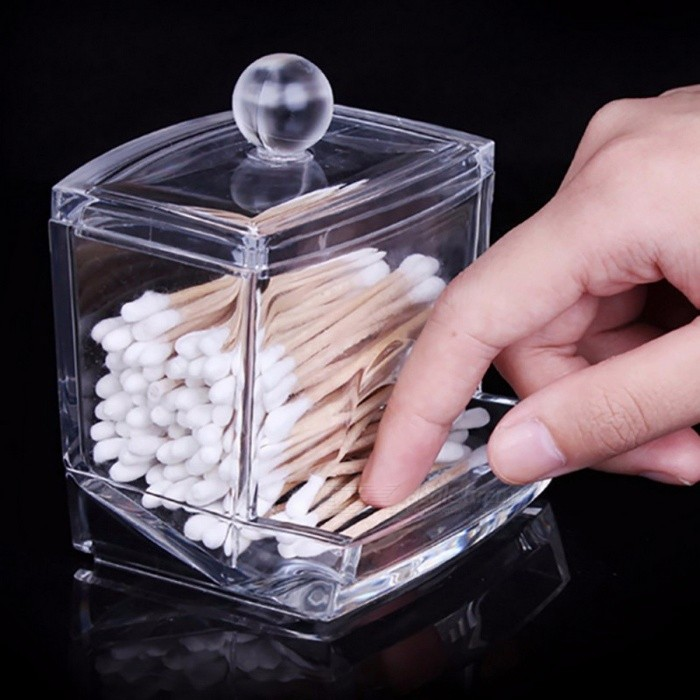 Buy Mini Creative Transparent Acrylic Storage Holder Box, Clear Cotton Swabs Stick Cosmetic Makeup Organizer Case Clear with Litecoins with Free Shipping on Gipsybee.com