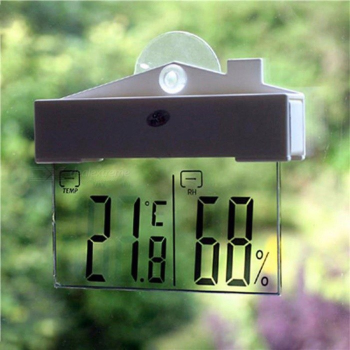 Creative Design LCD Digital Window Suction Cup Thermometer Hydrometer, Indoor Outdoor Weather Station White