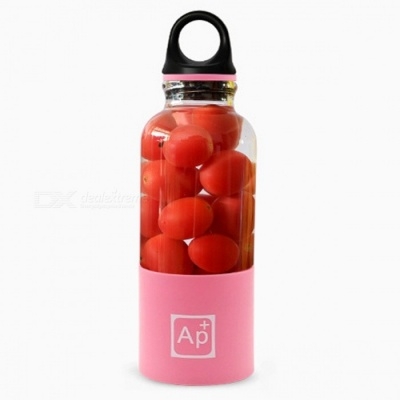 Portable USB Rechargeable Juicer Cup, 500ml Capacity BPA Free Fruit Juice Blender - Pink
