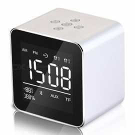 Multifunction LED Display Alarm Clock, Mini Wireless Bluetooth Speaker with Built-in Mic, 8H Music Playing Time