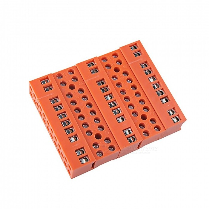 600V-36A-10-Position-Double-Row-Screw-Terminal-Block-Orange-(5-PCS)