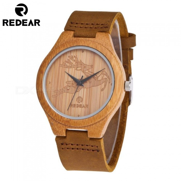 REDEAR Bamboo Wooden Deer Pattern Men's Quartz Watch with Genuine Leather Strap