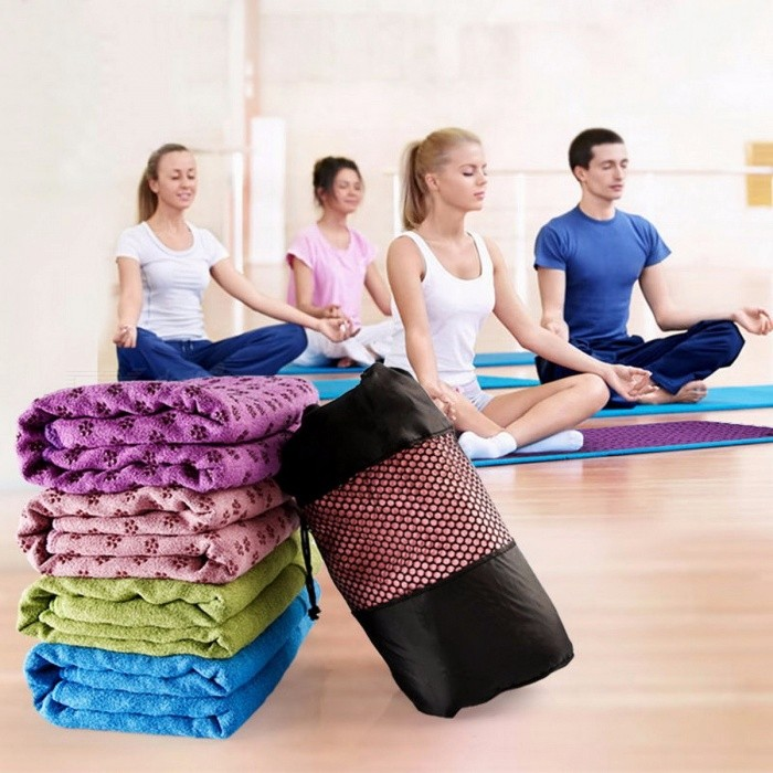 JIEMEIRUI Non-Slip Yoga Mat Cover Towel Blanket for Sport Fitness Exercise Pilates Workout Exercise Training Blue