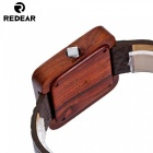 Redear 1724 Big Square Shape Dial Wooden Watch with Leather Strap for Men - Red Sandalwood