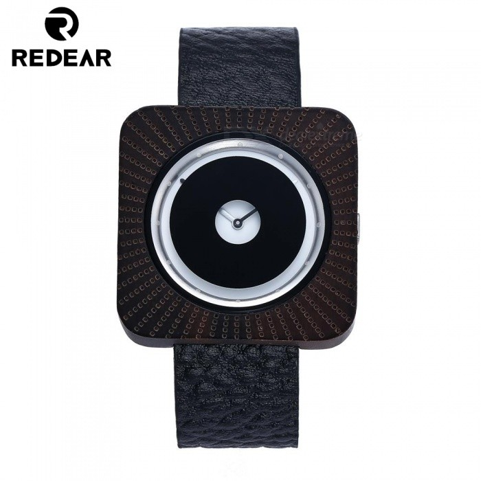 Redear 1724 Big Square Shape Dial Wooden Watch with Leather Strap for Men - Black
