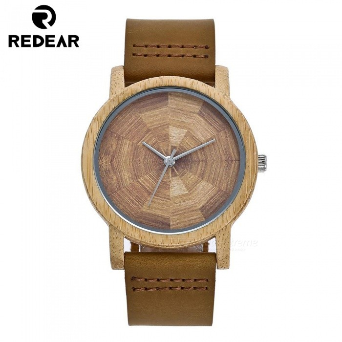 Redear 5002 Handcrafted Oak Wood Wrist Watch with Japan MovementQuartz Watches<br>ColorWood ColorModel5002Quantity1 setShade Of ColorYellowCasing MaterialWoodWristband MaterialPU LeatherSuitable forAdultsGenderMenStyleWrist WatchTypeFashion watchesDisplayAnalogMovementQuartzDisplay Format12 hour formatWater ResistantFor daily wear. Suitable for everyday use. Wearable while water is being splashed but not under any pressure.Dial Diameter4.2 cmDial Thickness1 cmWristband Length23 cmBand Width2 cmBatterySony 626Packing List1 x Watch1 x Box1 x Hole puncher1 x Specification1 x Watch cloth<br>