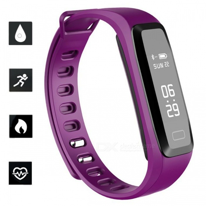 G15 Sports Smart Bracelet Watch Blood Pressure Heart Rate Monitoring IP67 Waterproof Remote Camera Function - PurpleSmart Bracelets<br>ColorPurpleQuantity1 setMaterialPlastic + SiliconeShade Of ColorPurpleWater-proofIP67Bluetooth VersionBluetooth V4.0Touch Screen TypeAMOLEDCompatible OSAndroid 4.0 or higher, iOS 7.1 and higherBattery Capacity50 mAhBattery TypeLi-polymer batteryStandby Time20 dayPacking List1 x Smart Bracelet 1 x Charging clip 1 x User Manual<br>