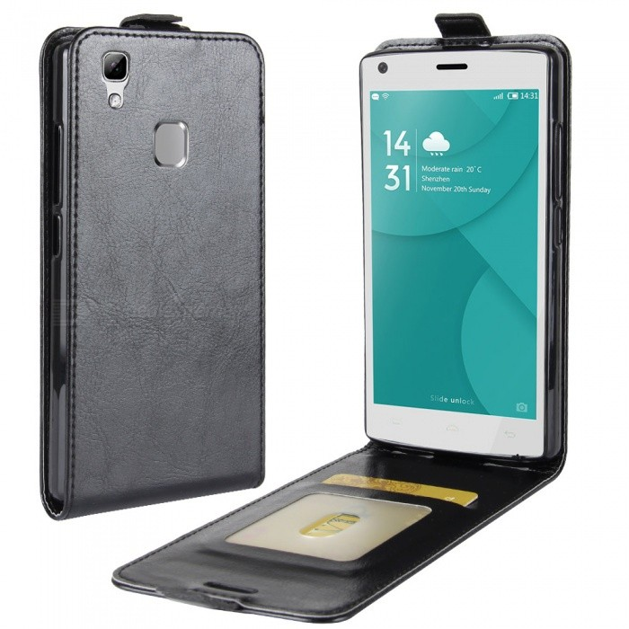 Buy Stylish Up-Down Flip Open Protective PU Case for Doogee X5 MAX - Black with Litecoins with Free Shipping on Gipsybee.com