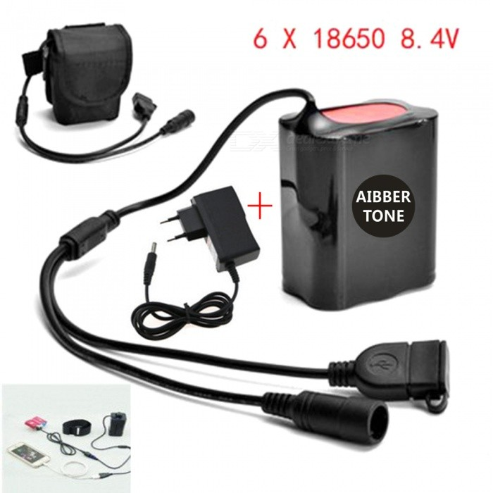 AIBBER TONE Portable 8.4V 6 x 18650 Battery Pack with DC & USB Port