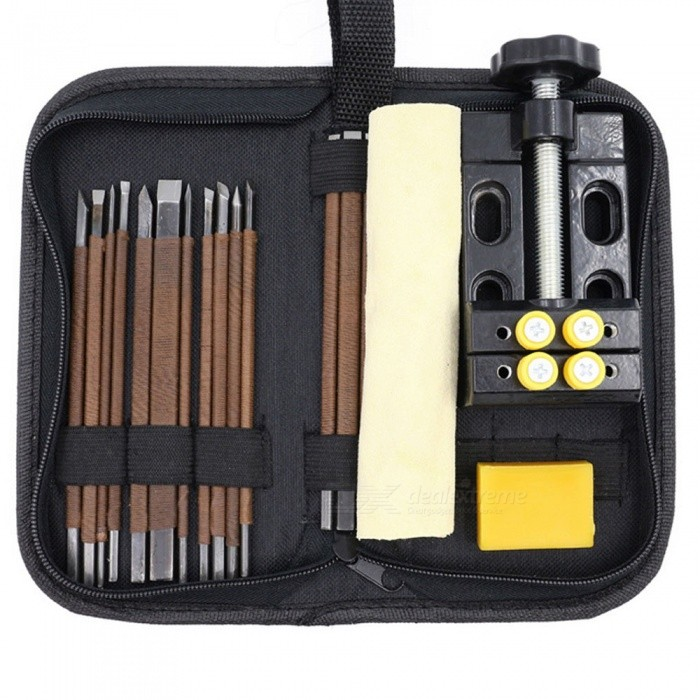 18-Pieces-Manganese-Steel-Cutting-Set-Carving-Knife-Stone-Carving-Seal-Kit
