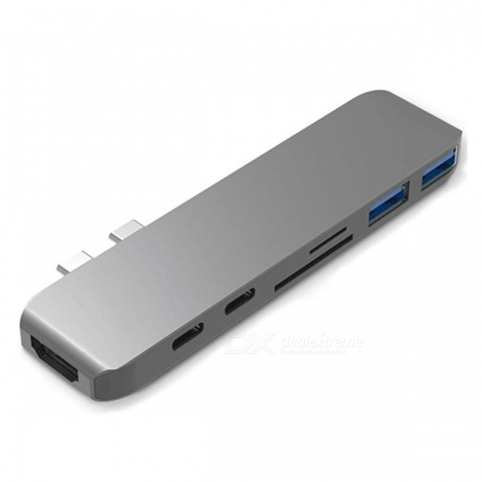 Cwxuan USB 3.1 Type-C to 4K HDMI, USB 3.0 HUB, TF SD Card Reader with PD Charging for Macbook Pro - Grey