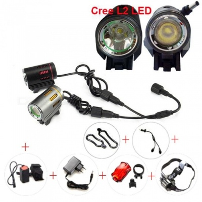 AIBBER TONE Aluminum Waterproof 8.4V CREE XML L2 LED High and Low Beam Cycling Lamp, Bike Front Light Headlight