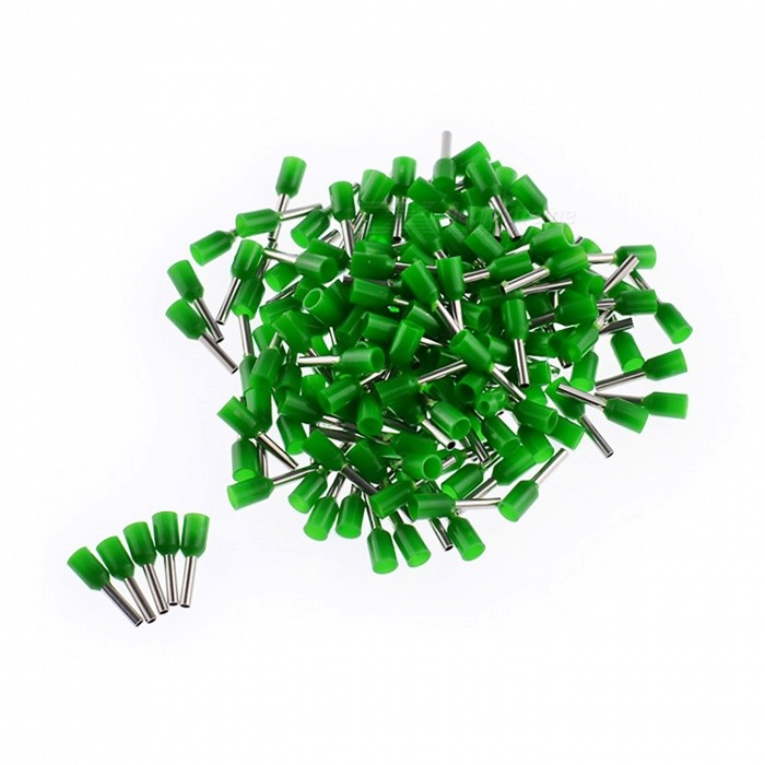 E4009 12AWG Insulated Ferrule Cord End Terminal Connector, 1000 Pieces, GreenDIY Parts &amp; Components<br>ColorGreenModelVE4009Quantity1000 piecesMaterialPVC + CopperEnglish Manual / SpecNoOther FeaturesWire Range: 12A.W.G, 4.0mm?CertificationROHS     ISO9001Packing List1000(+/-2 percent ) x Cord pin end terminals<br>