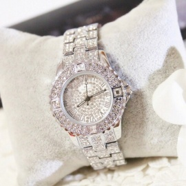 Chic Fashion Rhinestone Crystal Dial Women Lady Dress Watch, Diamond Luxury Bracelet Quartz Wristwatch silver