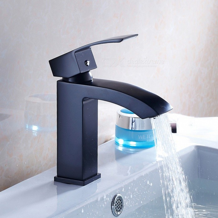 F-8068B Brass Waterfall Black Spray Paint Single Handle One-Hole with Ceramic Valve, Bathroom Sink FaucetBath Faucets<br>ColorBlackSizeOther Regions/CountriesModelF-8068BMaterialBrassQuantity1 setFinishOthers,Black Spray PaintFaucet Spout MaterialBrassFaucet Body MaterialBrassFaucet Handle MaterialZinc AlloyStyleAntiquePacking List1 x Faucet2 x Stainless steel tubes (50cm)<br>