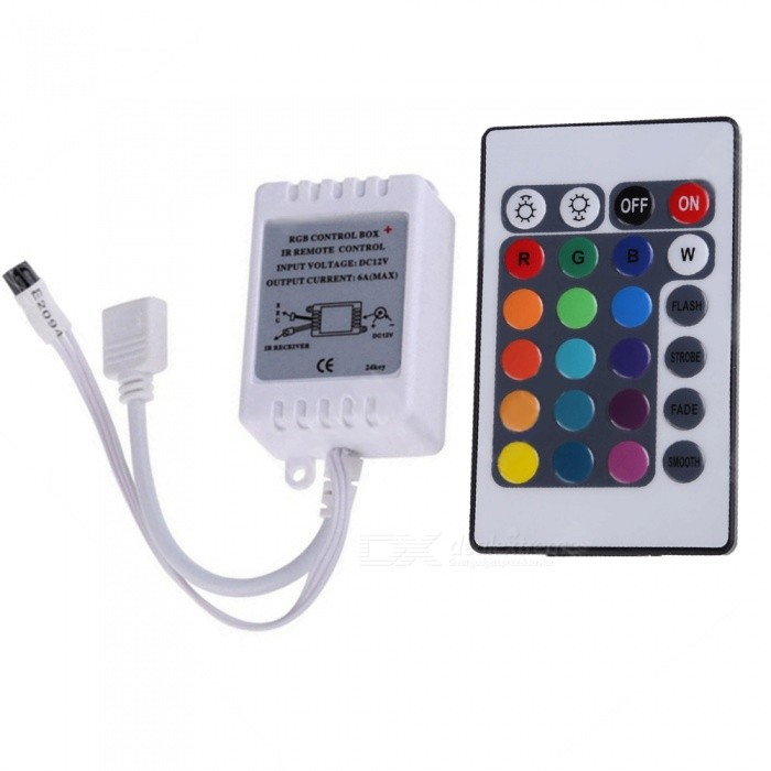 Sencart Mini 24-Key IR Remote Wireless Controller for 3528 5050 RGB LED Strip LightDimmer Controllers<br>Color24-KeyModelWireless RemoteMaterialABSQuantity1 pieceWith Switch ControlYesPower72 WWorking Temperature-20-60 ?Water-proofYesRanges of remote10 mWorking Voltage   5-12 VWorking Current6 ADimmableYesPacking List1 x Controller1 x 24-key IR Remote<br>