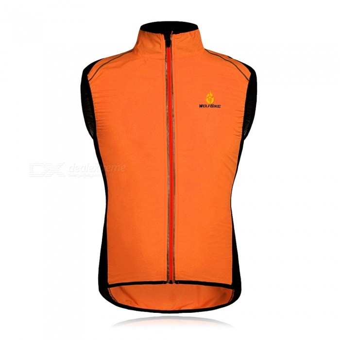 Buy WOLFBIKE BC230 Reflective Breathable Windproof Cycling Vest, Sleeveless Jersey Jacket - Orange (S) with Litecoins with Free Shipping on Gipsybee.com