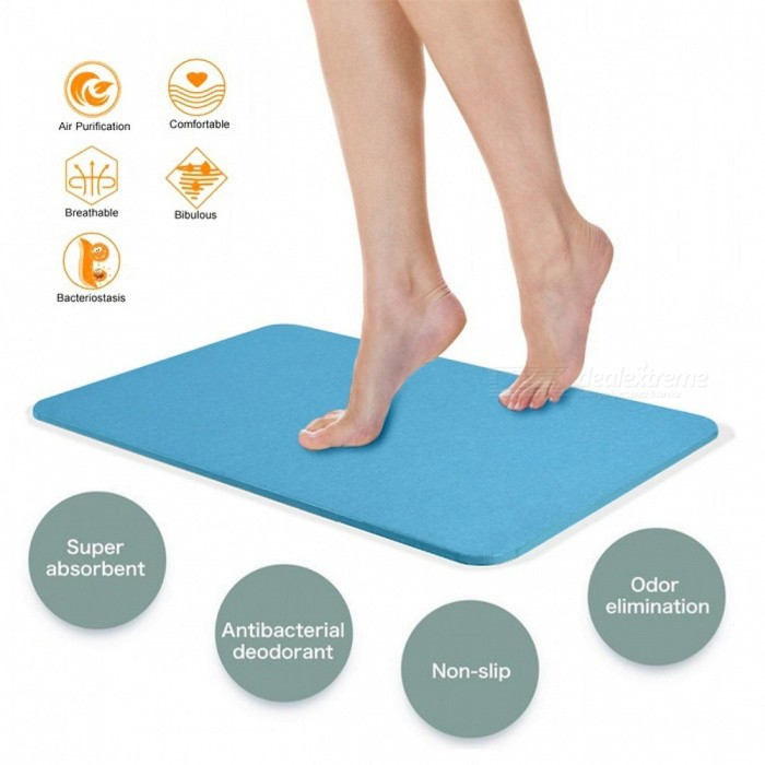 Buy Magic Anti-slip Diatomaceous Earth Bath Mat - Blue with Litecoins with Free Shipping on Gipsybee.com