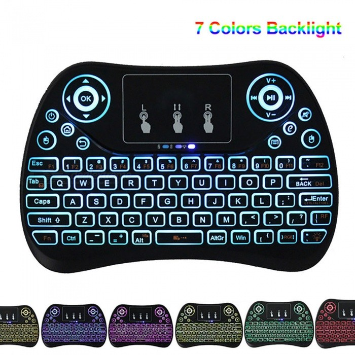 BLCR 2.4GHz Portable Mini Wireless Keyboard with Touchpad Mouse for Android TV BOX,PC,PAD,XBOX 360,PS3, Etc (Colorful Backlit)Wireless Keyboards<br>ModelColorful BacklitModelT2-2LMaterialPlasticQuantity1 setInterfaceUSB 2.0Wireless or Wired2.4G WirelessBluetooth VersionNoCompatible BrandOthers,PC, Pad, Android Smart TV Box (MXQ pro T95m M8s gbox m9c etc), Xbox 360, PS3, HTPC/IPTV, Smart Phone (OTG), Notebook etc.Tracking MethodTouch PadBack-litNoOperation Distance10 mPowered ByBuilt-in BatteryBattery included or notYesCharging Time4 hoursBattery Capacity300 mAhBattery Number1WaterproofNoTypeAir mouse &amp; KeyboardSupports SystemOthers,Google/ Android OS, Linux OS, Windows all supported.Packing List1 x Mini Keyboard1 x USB Receiver1 x Charging Cable1 x User Mannual<br>