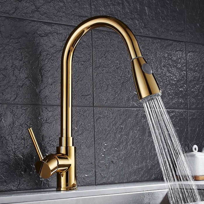 F-8055A-G Brass Ti-PVD Pull-out/Pull-down 360 Degree Rotatable Single Handle One-Hole Kitchen Faucet with Ceramic Valve