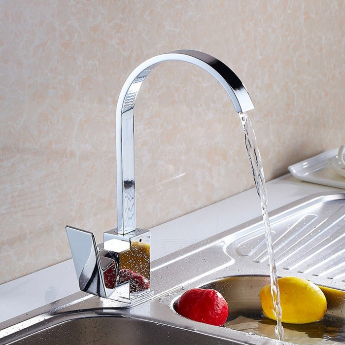 F-8004C Brass Chrome 360 Degree Rotatable Single Handle One-Hole with Ceramic Valve, Kitchen FaucetKitchen Faucets<br>ColorSilverSizeOther Regions/CountriesModelF-8004CMaterialBrassQuantity1 setFinishChromeValve TypeCeramic ValveNumber of handlesSingleSpout Height25 cmSpout Length18.5 cmTotal Height30.5 cmPacking List1 x Faucet2 x Stainless steel tubes (60cm)<br>