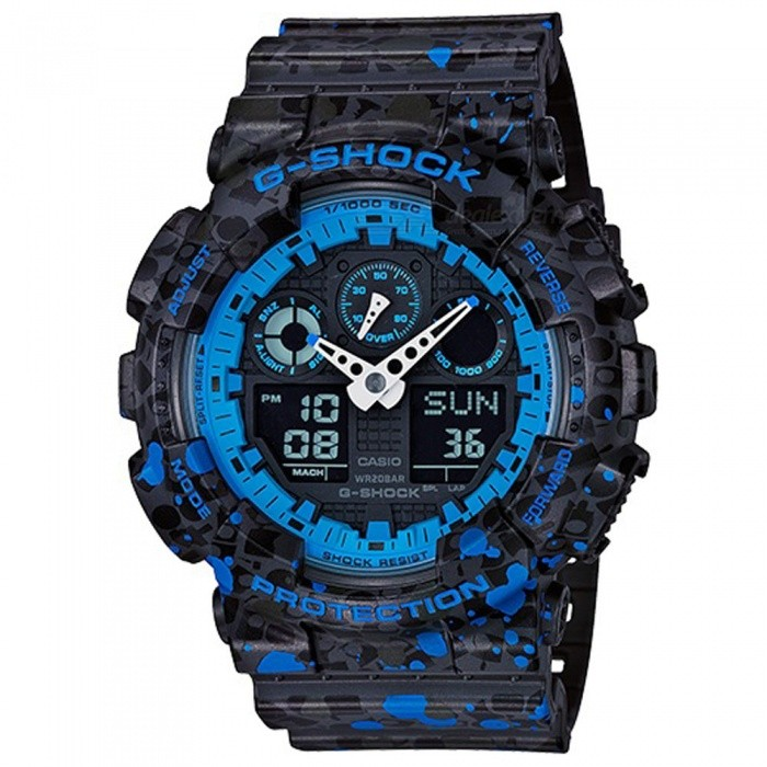 Casio G-Shock GA-100ST-2A Men's Stash Collaboration Digital Watch - Black + Blue