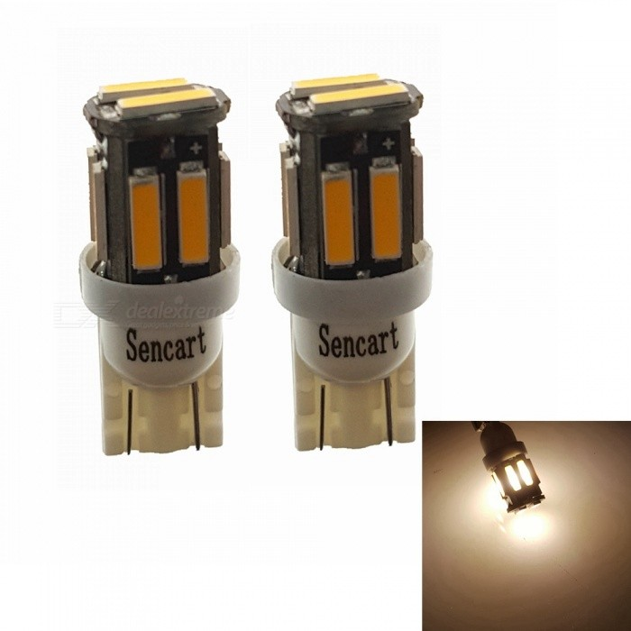Sencart T10 7020SMD 10-LED Warm White Car Marker Light, Interior Reading Dome Light (2 PCS / DC12V)Signal Lights<br>Color2PCS T10 Warm WhiteModel7020 LED LightQuantity2 piecesMaterialABS+PCB+LEDPower3 WWorking Voltage12-16VConnectorOthers,T10Bulb Specification10Brightness240-260LMColor BIN3000-3500KApplicationHigh Beam Lamp,Low Beam Lamp,Fog Bulb,Front Turn Signals Bulb,Side Turn Signals Bulb,Rear Turn Signals Bulb,Brake BulbPacking List2 x T10 LED Lights<br>