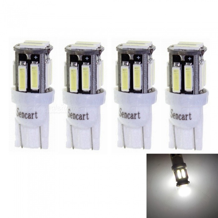 Sencart T10 7020SMD 10-LED White Car Marker Light InteriorReading Dome Light (4 PCS / DC12V)Signal Lights<br>Color4PCS T10 WhiteModel7020 LED LightQuantity4 piecesMaterialABS+PCB+LEDPower3 WWorking Voltage12-16VConnectorOthers,T10Bulb Specification10Brightness240-260LMColor BIN6000-6500KApplicationHigh Beam Lamp,Low Beam Lamp,Fog Bulb,Front Turn Signals Bulb,Side Turn Signals Bulb,Rear Turn Signals Bulb,Brake BulbPacking List4 x T10 LED Lights<br>