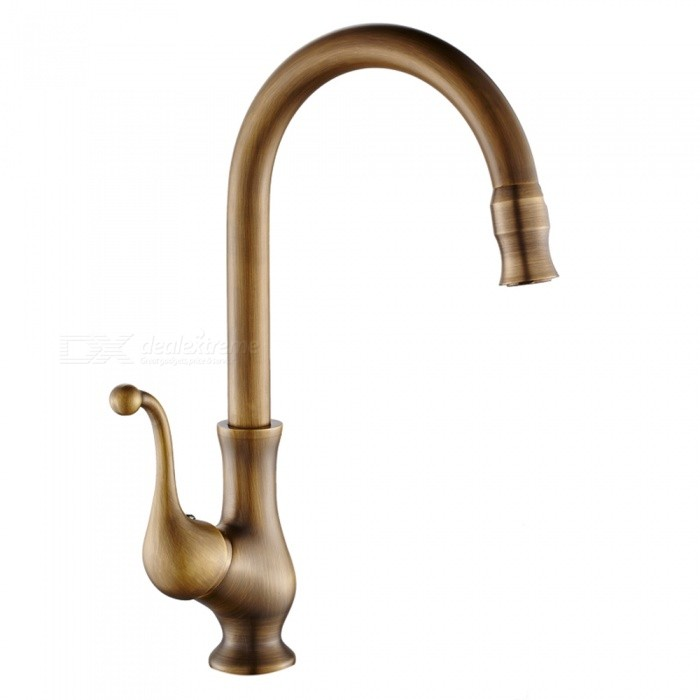 F-9102A  Antique Brass 360 Degree Rotatable Ceramic Valve Single Handle One-Hole Kitchen FaucetKitchen Faucets<br>ColorAntique BrassSizeOther Regions/CountriesModelF-9102AMaterialBrassQuantity1 setFinishAntique BrassValve TypeCeramic ValveNumber of handlesSingleSpout Height23 cmSpout Length21 cmTotal Height35.5 cmPacking List1 x Faucet2 x Stainless steel tubes (60cm)<br>