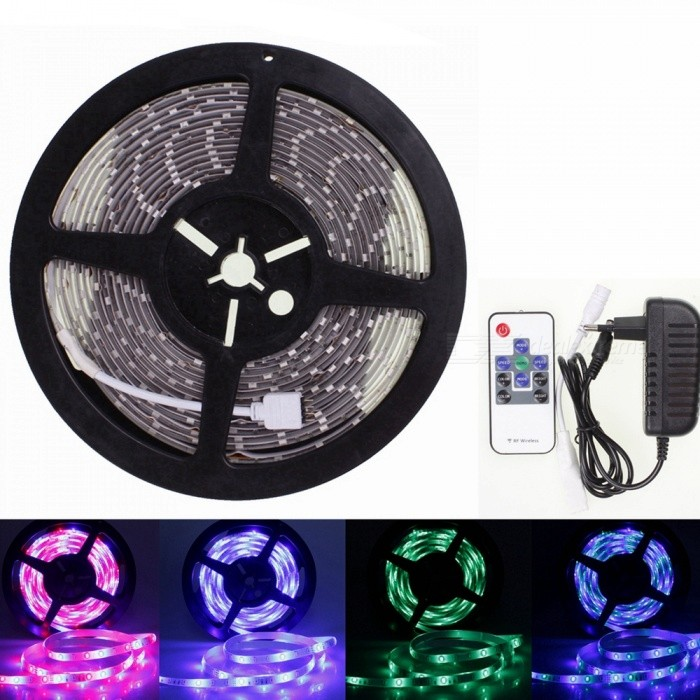 Sencart 5M 5630 RGB 300LED Waterproof Strip Light Flexible Tape 10Key RF Remote Power Supply5630 SMD Strips<br>ColorRGB+10Key Remote + EU Power SupplyModel5M 5630RGBMaterialLED+PCBForm  ColorWhiteQuantity1 setPower72WRated VoltageDC 12 VChip BrandEpistarEmitter Type5630 SMD LEDTotal Emitters300WavelengthRed: 635-700 nm Blue: 450-490 nm Green: 490-560 nmTheoretical Lumens7500 lumensActual Lumens3500 lumensPower AdapterEU PlugPacking List1 x 5630 RGB LED Strip1 x Mini 10 key RF Controller1 x 12V 2A Power Supply<br>