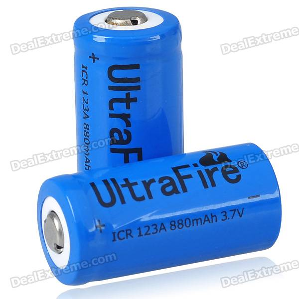 UltraFire CR123A 3.7V 880mAh Batteries (Pair)