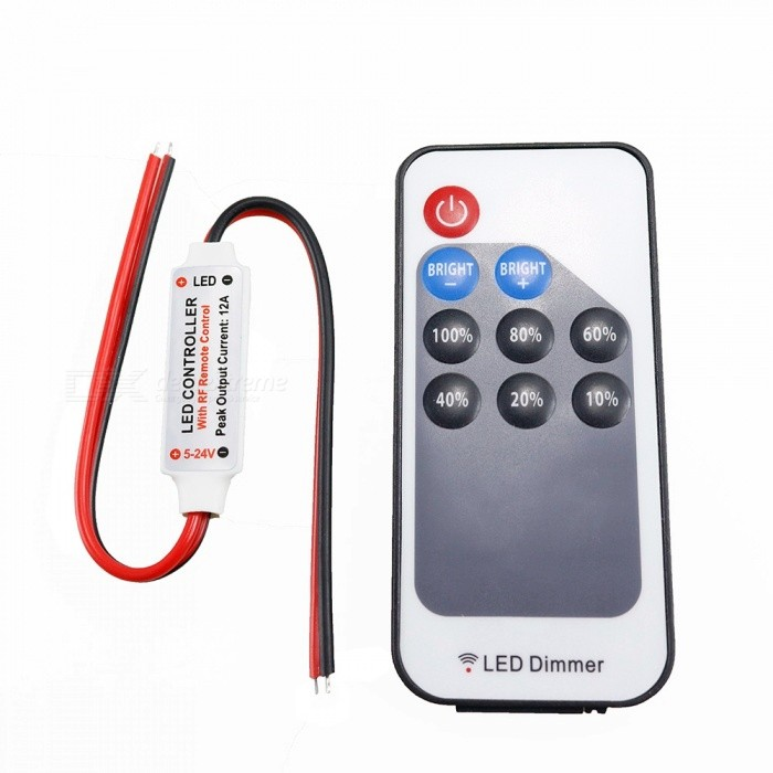 Sencart 9-Key Ultra Slim Mini RF Wireless Remote LED Dimmer for 3528 5050 LED Strip Light, DC5-24VDimmer Controllers<br>Color9-KeyModelWireless RemoteMaterialABSQuantity1 pieceWith Switch ControlYesPower72 WWorking Temperature-40-60 ?Water-proofYesRanges of remote15 mWorking Voltage   5-24 VWorking Current12 ADimmableYesPacking List1 x Controller1 x 9-key RF Remote<br>