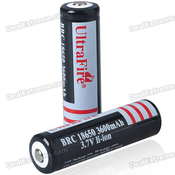"UltraFire 18650 3.7V ""3600mAh"" Batteries (1 Pair)"