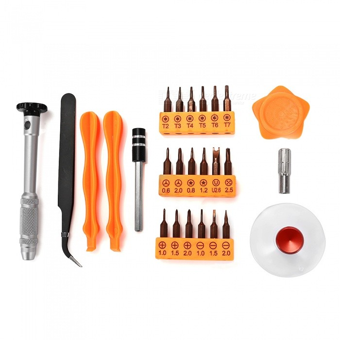 SW-8144 26-in-1 Multi-function Disassemble Maintenance Tools KitScrewdriver, Screwdriver Set<br>ColorOrange + SilverModel8144Quantity1 setMaterialImported tool steel.Screw Head TypeAll-in-OnePacking List1 x Handle18 x Bits2 x Crowbars1 x Pry piece1 x Tweezers1 x Extension rod1 x H4 adapter<br>