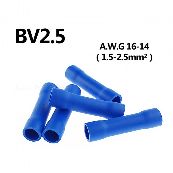 100pcs 16-14 Gauge Butt Insulated Splice Terminals Electrical Wire Crimp Connectors (Blue / 16-14AWG)DIY Parts &amp; Components<br>Size16-14ModelBV2Quantity100 pieceMaterialCopper + PVCEnglish Manual / SpecNoOther FeaturesAWG16-14CertificationISO9001Packing List100 x Connectors<br>