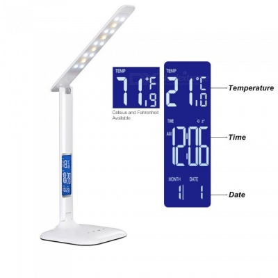 AIBBER TONE 5-Level Dimmer 3-Color Temperature LED Eye Protection Lamp with Touch Switch, Calendar & Temperature Function