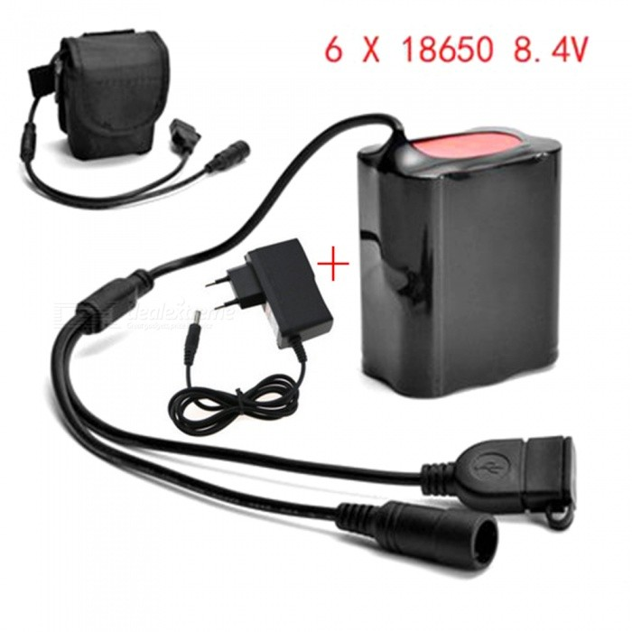 Buy AIBBER TONE 8.4V 9000mAh 6 x18650 DC & USB Rechargable Battery Pack for Bike Lamp with Litecoins with Free Shipping on Gipsybee.com