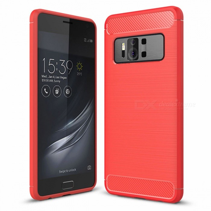 Naxtop Wire Drawing Carbon Fiber Textured TPU Brushed Finish Soft Phone Back Cover Case for Asus Zenfone AR ZS571KLTPU Cases<br>ColorRedModelN/AMaterialTPUQuantity1 pieceShade Of ColorRedCompatible ModelsAsus Zenfone AR ZS571KLPacking List1 x Case<br>