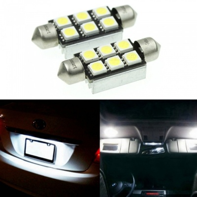 Sencart 2Pcs 39MM 5050 SMD 6-LED Festoon Dome Light Car CANBUS Error Free Led Light Bulb