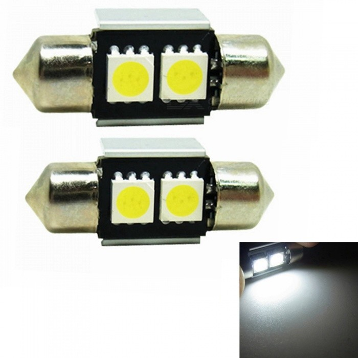 Sencart 2Pcs 31mm (1.25)  White 5050 SMD LED Bulbs for Interior Festoon Map Dome License Plate Lights LampCar Interior Lights<br>Color31mm 2SMD WhiteModelLicense Plate LightsQuantity2 piecesMaterialPCB+LED+AluminumPower1 WWorking Voltage12-16ConnectorOthers,C5WBulb Specification5050SMD LEDBrightness40Color BIN6000-6500KApplicationOthers,License Plate Lights  Car Interior  LightsPacking List2 x LED Bulbs<br>