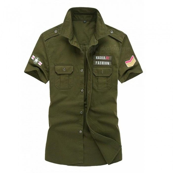 CTSmart 8519 Summer Large Plus Size Uniform Short-Sleeved Shirt - Army Green (4XL)Hoodies &amp; Sweatshirts<br>ColorArmy greenSize4XLModel8519Quantity1 pieceShade Of ColorGreenMaterialcottonStyleSportsShoulder Width50.7 cmChest Girth120 cmWaist Girth120 cmSleeve Length25.5 cmTotal Length77 cmSuitable for Height185 cmPacking List1 x Short Sleeves Shirt<br>