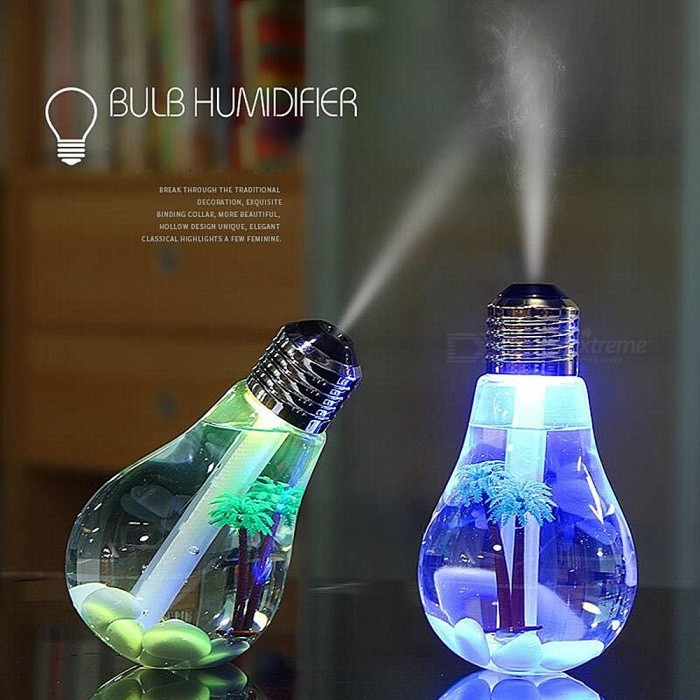 Creative Colorful Light Bulb Style Humidifier - GoldenStage Lights<br>ColorGoldenMaterialABSQuantity1 pieceShade Of ColorTransparentPattern TypeSpray 7 color light bulb humidifier.Packing List1 x Bulb Humidifier1 x English instruction manual<br>